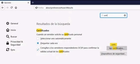 certificados en buscador