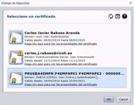 seleccionar certificado